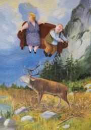 Sofa über röhrendem Hirsch